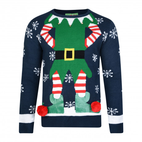 3D Xmas Novelty Jumper Crew Neck Christmas Knit Elf Body Navy Blue | Jean Scene
