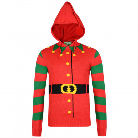 Christmas Jumper 3D Hooded Elf Buddy Jacket Style Red | Jean Scene