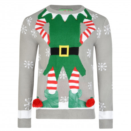 3D Xmas Novelty Jumper Crew Neck Christmas Knit Elf Body Grey | Jean Scene