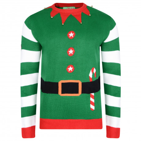 3D Xmas Novelty Jumper Crew Neck Christmas Knit Elf Jacket Green | Jean Scene