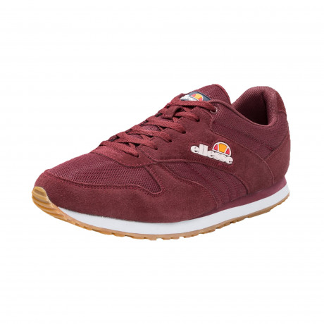 Ellesse Men's Runner Suede Leather Low Shoes Trainers Burgundy | Jean Scene