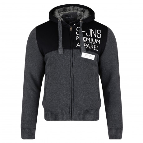 Smith & Jones Men's Enfilade Zip Up Fur Lined Hoodie Black Marl | Jean Scene