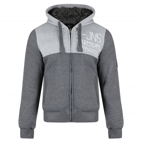 Smith & Jones Men's Enfilade Zip Up Fur Lined Hoodie Mid Grey Marl | Jean Scene