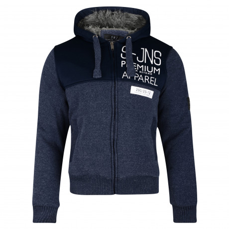 Smith & Jones Men's Enfilade Zip Up Fur Lined Hoodie Navy Blazer | Jean Scene
