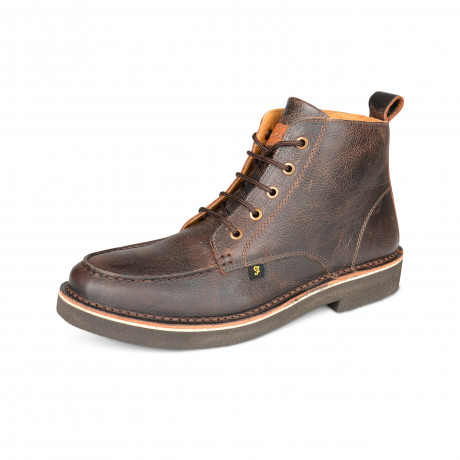 Farah Mens High Leather Mid East Boots Dark Brown Shoes | Jean Scene