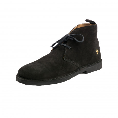 Farah Mens High Suede Leather Chukka Lozza Boots Black Shoes | Jean Scene