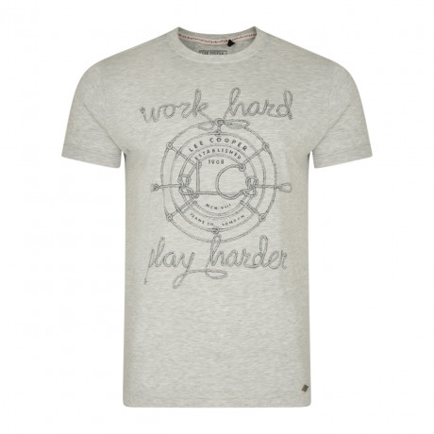 Lee Cooper Farway Crew Neck Cotton Printed T-shirt Ecru   Jean Scene