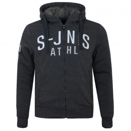 Smith & Jones Zip Up Men's Fenda Hoodie Black Marl | Jean Scene