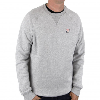 Fila Men's Filippo Logo Crew Neck Sweatshirt Mid Grey Marl | Jean Scene