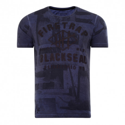 Firetrap Franconia Crew Neck Print T-shirt Navy | Jean Scene