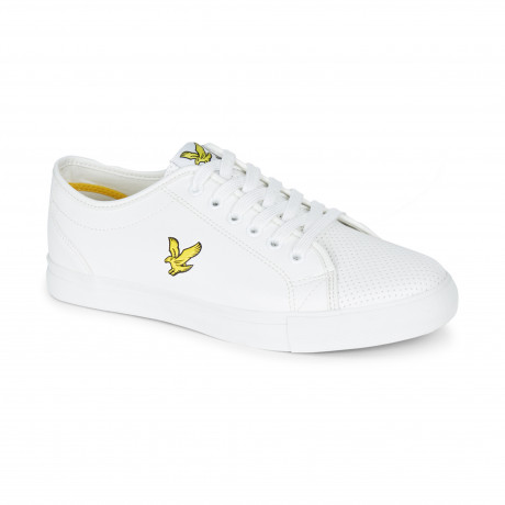 Lyle & Scott Men's Whitlock Perforated Low Synthetic Leather Shoes White | Jean Scene