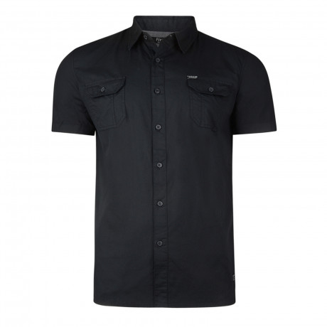 Firetrap Gardar Plain Pattern Shirt Short Sleeve Black | Jean Scene