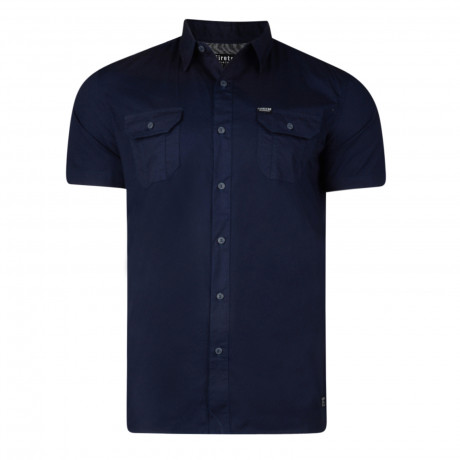 Firetrap Gardar Plain Pattern Shirt Short Sleeve Navy Blue | Jean Scene