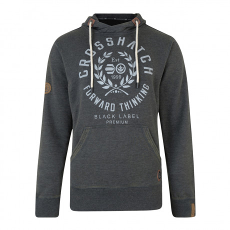 Crosshatch Men's Gisburn Logo Hooded Sweatshirt Nine Iron Marl | Jean Scene