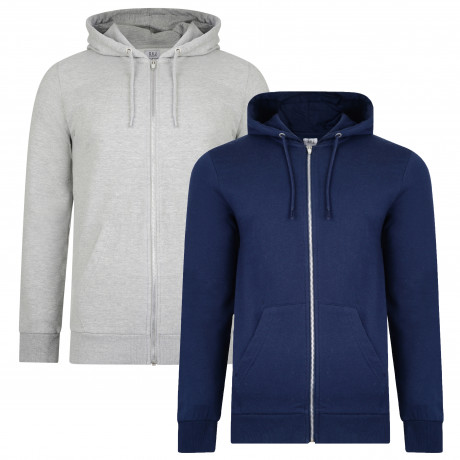 Smith & Jones Men's Gridron Zip Up Hoodie 2 Pack Dress Blue/Grey Marl | Jean Scene