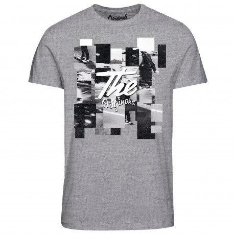 Jack & Jones Originals Crew Neck Hit 4 Print T-shirt Light Grey | Jean Scene