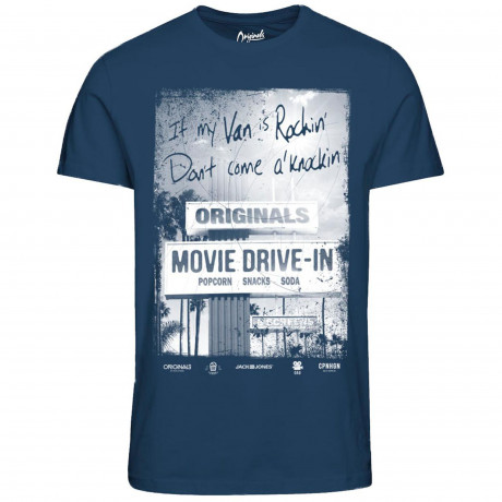 Jack & Jones Originals Crew Neck Hit 2 Print T-shirt Ensign Blue | Jean Scene