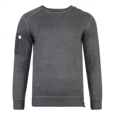 Crosshatch Hornsey Crew Neck Cotton Jumper Charcoal