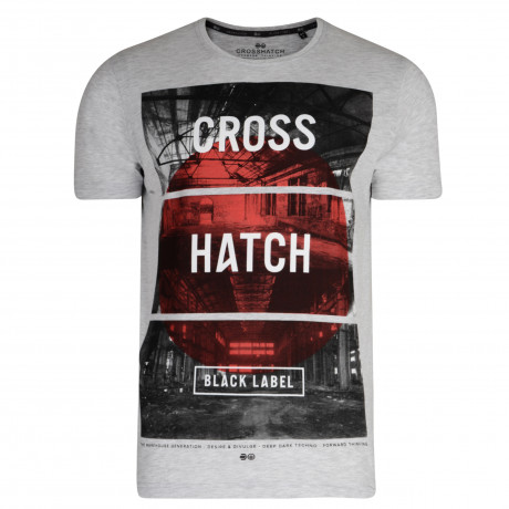 Crosshatch T-Shirt Printed Logo Light Grey | Jean Scene