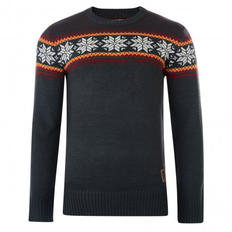 Crosshatch Crew Neck Acrylic Knit Ice Jumper Forged Iron