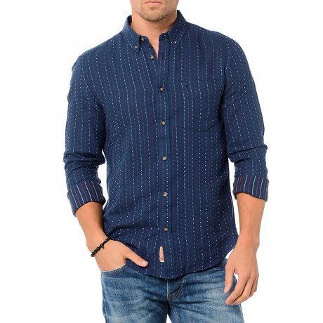 Wrangler Long Sleeve Cotton Shirt Slim Fit Mood Indigo