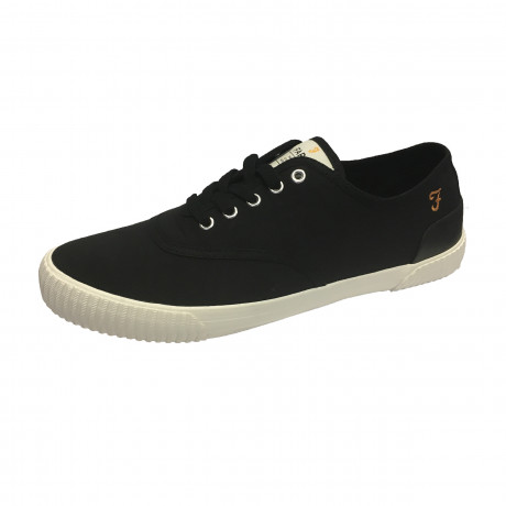 Farah Mens High Canvas Low Blink Shoes Black Shoes | Jean Scene