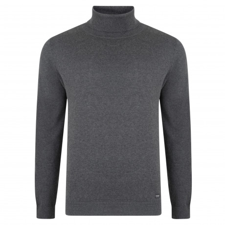 Threadbare Barnet Polo Neck Cotton Jumper Charcoal | Jean Scene