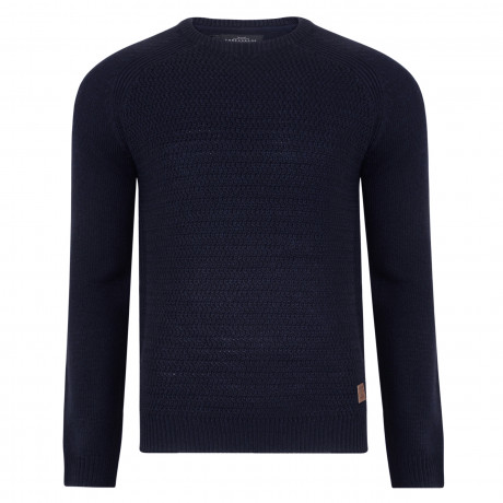 Threadbare Chartwell Crew Neck Wool Blend Jumper Rich Navy | Jean Scene