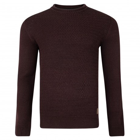 Threadbare Magwitch Crew Neck Wool Blend Jumper Mulberry | Jean Scene