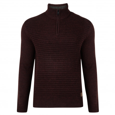 Threadbare Redford Zip Neck Wool Blend Jumper Burgundy | Jean Scene
