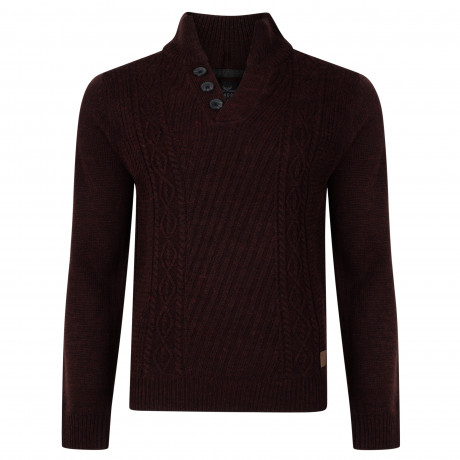 Threadbare Wray Button V Neck Wool Blend Jumper Burgundy | Jean Scene