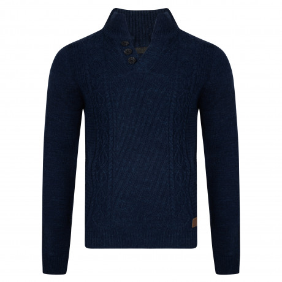 Threadbare Wray Button V Neck Wool Blend Jumper Indigo Marl | Jean Scene