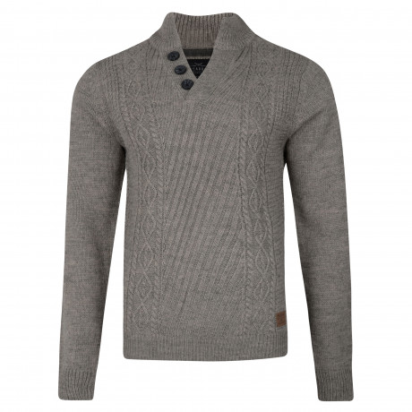 Threadbare Wray Button V Neck Wool Blend Jumper Squirrel Grey | Jean Scene