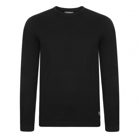Jack & Jones Crew Neck Cotton Jumper Black | Jean Scene