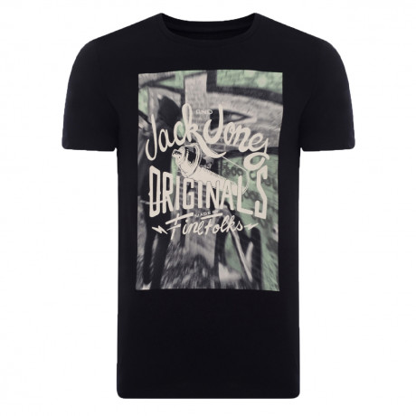 Jack & Jones Originals Crew Neck S3 Print T-shirt Black | Jean Scene
