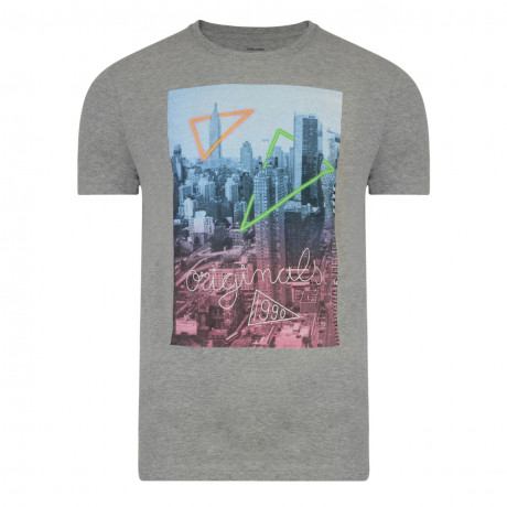 Jack & Jones Originals Crew Neck S2 Print T-shirt Light Grey Melange | Jean Scene