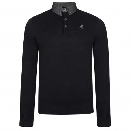 Kangol Shirt Collar Neck Cotton Malax Jumper Black | Jean Scene