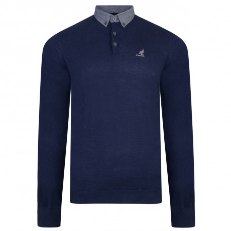 Kangol Shirt Collar Neck Cotton Malax Jumper Navy | Jean Scene
