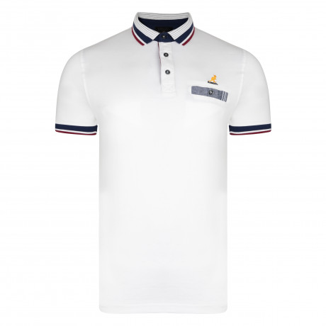 Kangol Muse Polo Pique Shirt White | Jean Scene