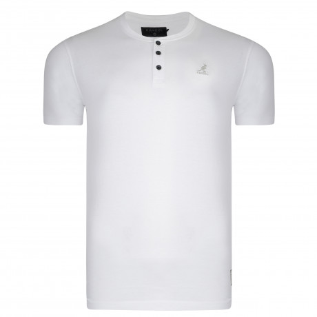 Kangol Henley Crew Neck Cotton Plain T-shirt White | Jean Scene