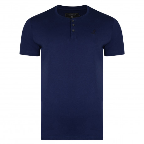 Kangol Henley Crew Neck Cotton Plain T-shirt Navy | Jean Scene