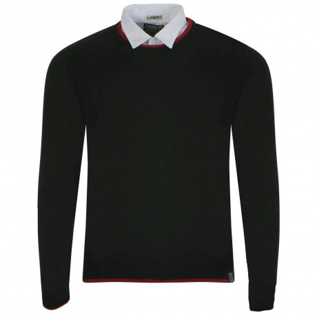 Kensington Inserted Shirt Collar Crew Neck Rockingham Jumper Black