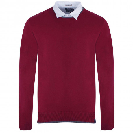 Kensington Inserted Shirt Collar Crew Neck Rockingham Jumper Runba Red
