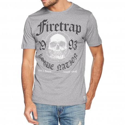 Firetrap Keyser Crew Neck Cotton Printed T-shirt Grey Marl | Jean Scene