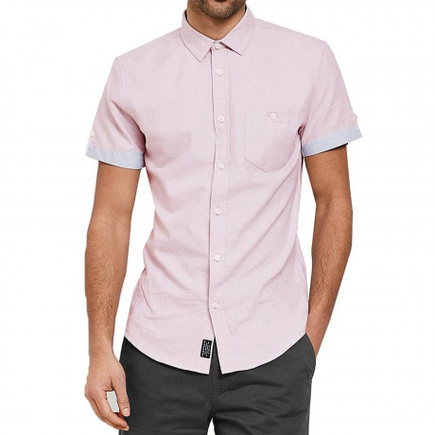Threadbare Chester Plain Pattern Shirt Short Sleeve Oxford Pink | Jean Scene
