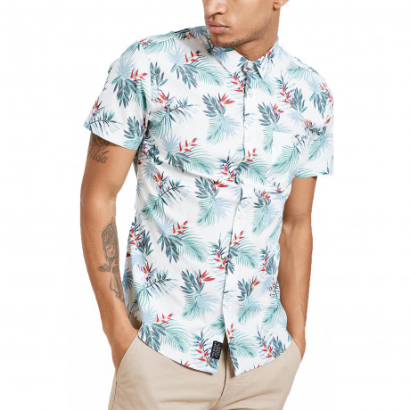 Threadbare Tropico Hawaiian Palm Print Pattern Shirt Short Sleeve White | Jean Scene