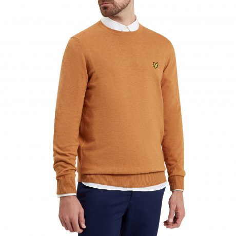 Lyle & Scott Crew Neck Cotton Merino Wool Jumper Dark Gold Marl | Jean Scene