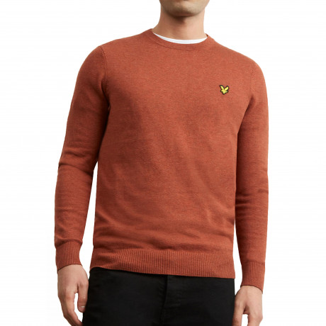 Lyle & Scott Crew Neck Men's Jumper Brown Spice | Jean Scene