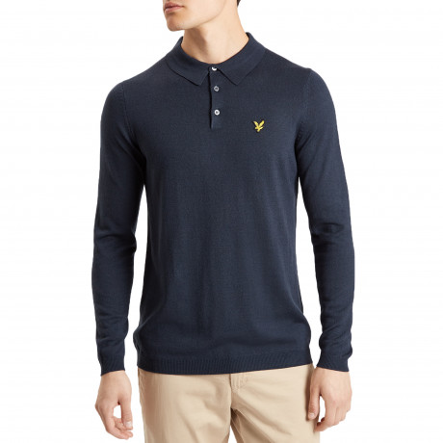 Lyle & Scott Long Sleeve Knitted Wool Blend Polo Shirt Navy | Jean Scene