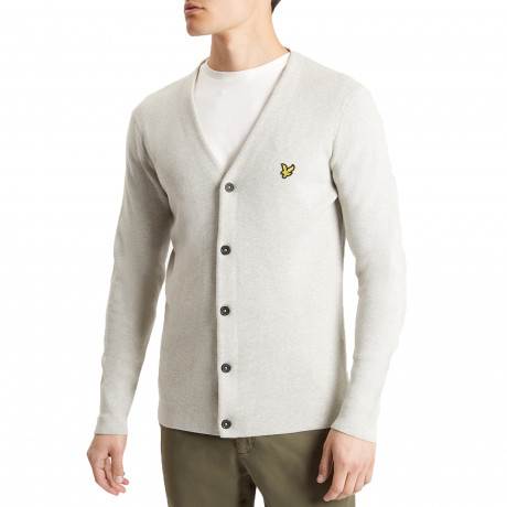 Lyle & Scott Vee Cotton Milano Cardigan Light Grey Marl | Jean Scene